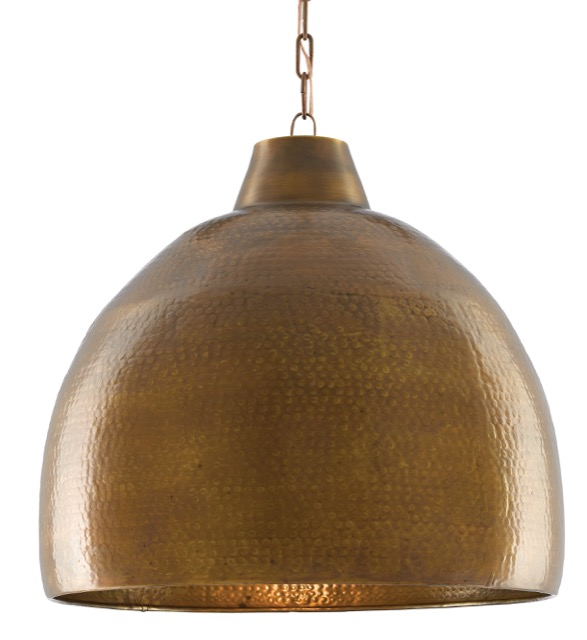 Currey & Company Earthshine pendant in a brilliant brass finish.