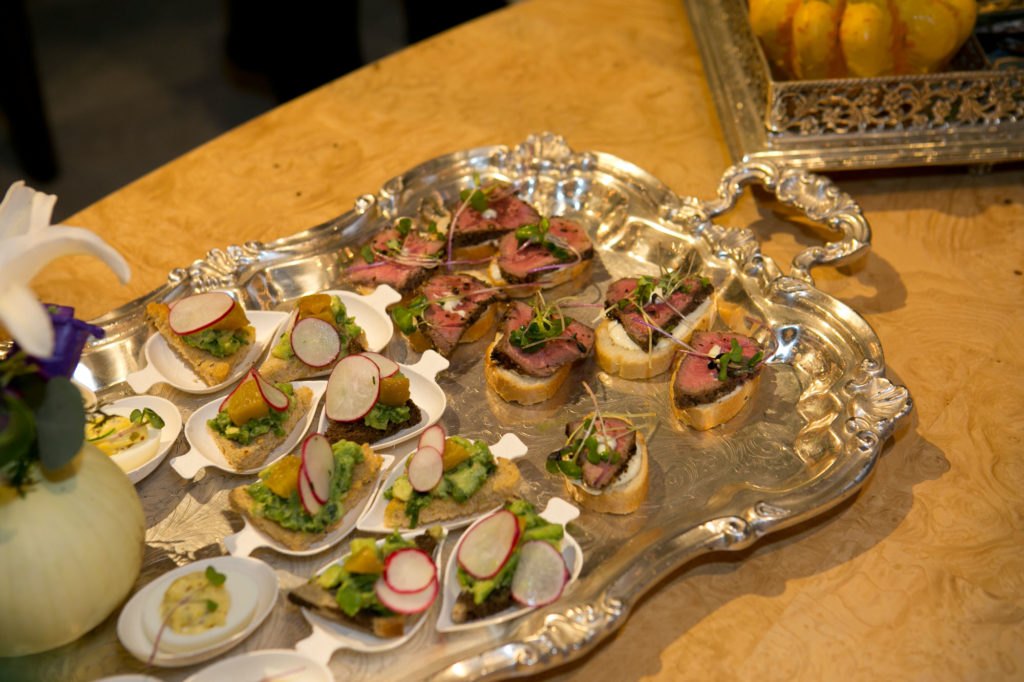 A platter of appetizers in the Currey & Company showroom at High Point