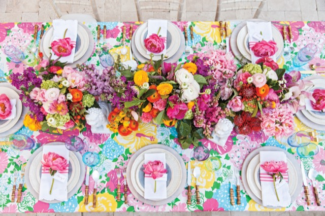Natural beauty in an indoor table set for entertaining in the book Living Floral