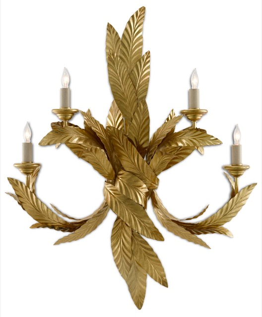 The Currey & Company Apollo Wall Sconce, designed by Iian Thornton, imitates the natural beauty of the laurel tree