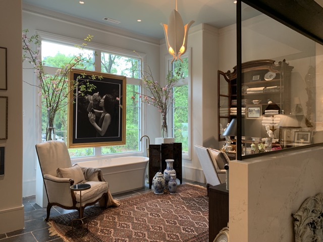 The Currey & Company Martine Chandelier in Stefan Alexander's space, a lovely setting in the Southeastern Design Showhouse & Gardens.