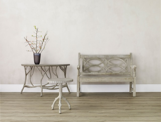 faux bois furniture by Currey & Company in a beauty shot, pieces made for summertime
