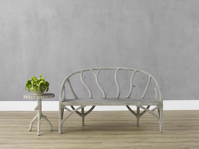 The Arbor Bench faux bois piece by Currey & Company