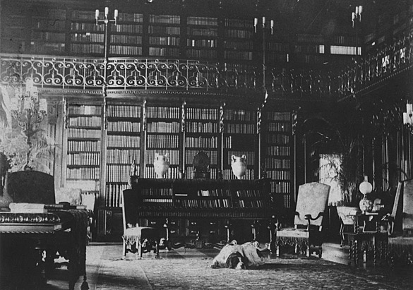vintage photograph of the library at the Biltmore in Asheville
