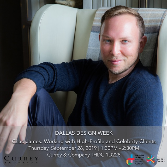 Chad James speaks in the Currey & Company showroom during Dallas Design Week