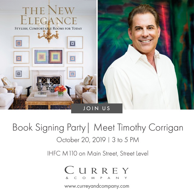 Timothy Corrigan to sign his new book The New Elegance in the Currey & Company showroom during High Point Market