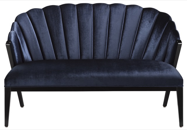 The Currey & Company Janelle Settee, a study in Art Deco elegance.