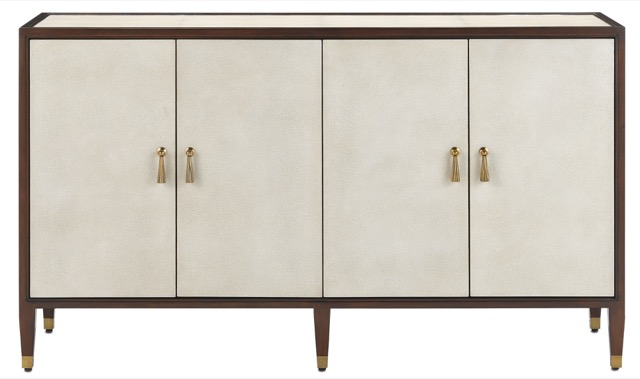 The Currey & Company Shagreen Credenza new for Fall 2019 is elegance personified