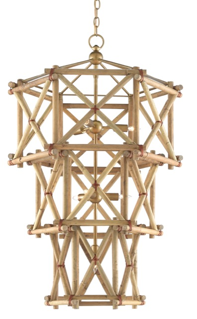 The rattan Kingali Chandelier is new for Currey & Company for fall 2019