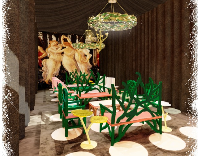 Installation in Currey & Company showroom with Botticelli's Primavera is an altered universe by Sasha Bikoff