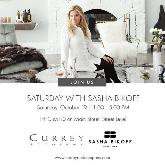 Meet designer Sasha Bikoff at the Currey & Company showroom in High Point