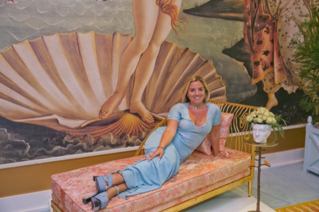 Sasha Bikoff ensconced in her installation at Currey & Company's High Point showroom where she created feasts for the senses.