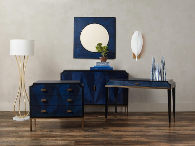 The Kallista family of products by Currey & Company, including the Kallista writing desk. Photo by Brian Woodcock.