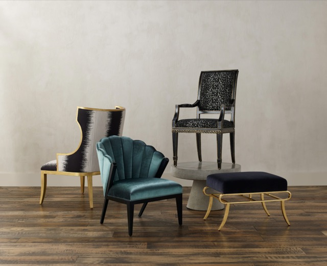 A selection of lovely seating in Currey & Company's new upholstery program. Photo by Brian Woodcock.