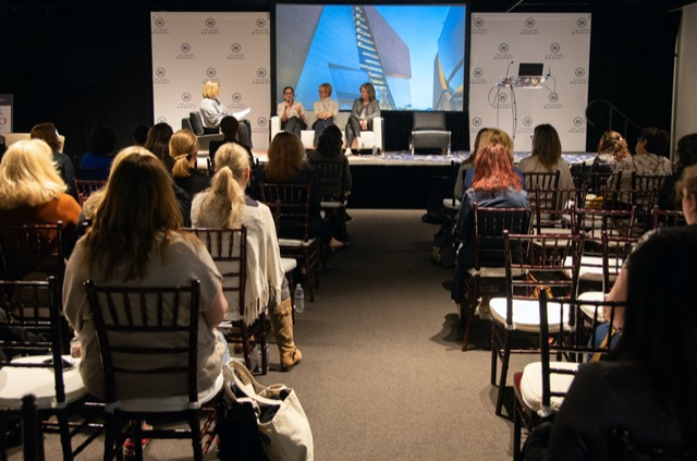 "Gail Doby moderates the ""Be the Light"" round table in Las Vegas Market with panelists (left to right) Laura Muller, Kerrie Kelly, and Wendy Glaister."