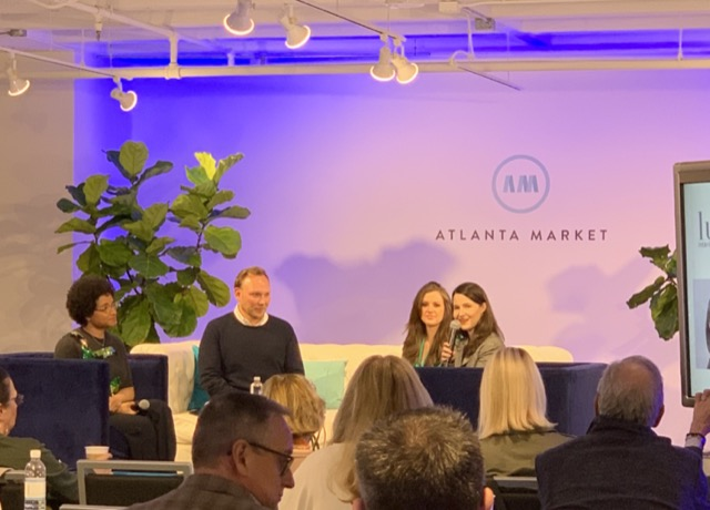 "The ""Ahead of the Curve"" panel during Atlanta Market included (left to right) Courtney McCloud, Chad James, Brynn Olson, and Luxe Interiors + Design's Southeast Homes Editor Kate Abney."