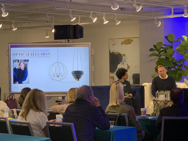 "During the ""Ahead of the Curve"" panel, Chad James spoke of transparent lighting, choosing our Auden Orb Chandelier show us some love"