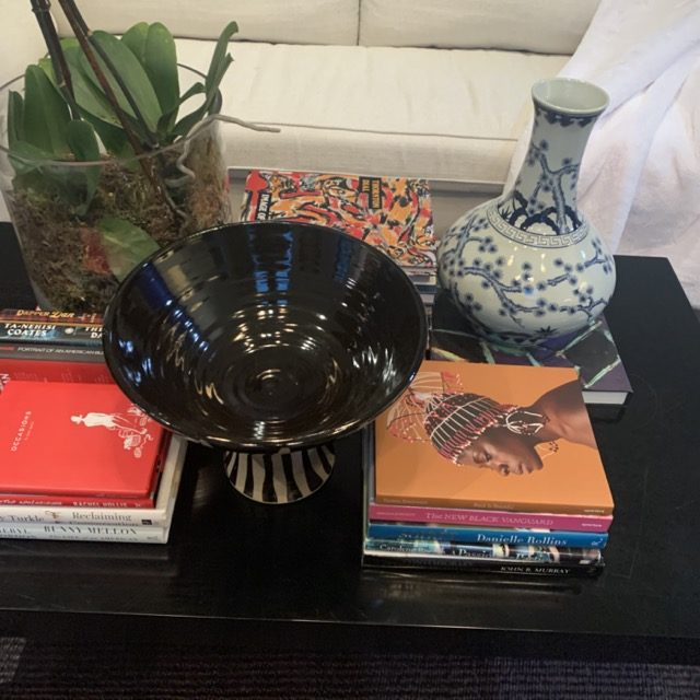 Currey & Company Arttu Bowl is nestled into a table-scape in the Loren Taylor Interior Design bedroom.
