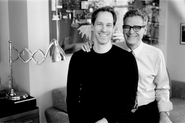 David Korins of David Korins Design with Barry Goralnick and the Currey & Company Reeves desk lamp sitting nearby.