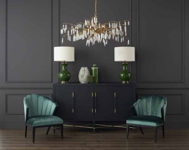The Verona Sideboard in a beauty shot of Currey & Company furniture, a tailored cabinet with brass stretchers.