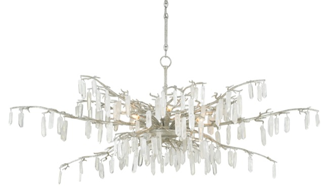 Forest Dawn Silver Chandelier by Currey & Company.