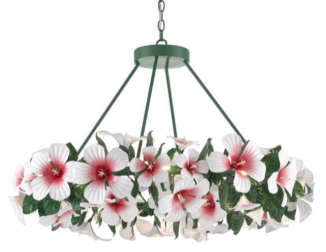 The Currey & Company Hibiscus Chandelier designed by Sasha Bikoff is among Brownlee Currey's favorite products