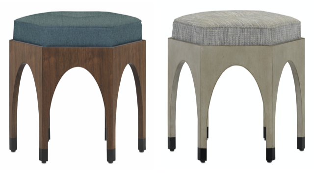 The Dyer Black Ink Walnut Ottoman and the Dyer Denim Oyster Ottoman, new from Currey & Company.