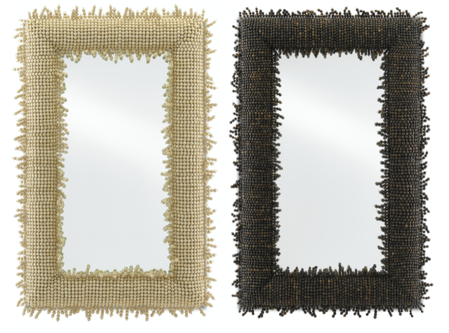 The Jeanie Large Mirror (left) and Pasay Large Mirror (right), new from Currey & Company.
