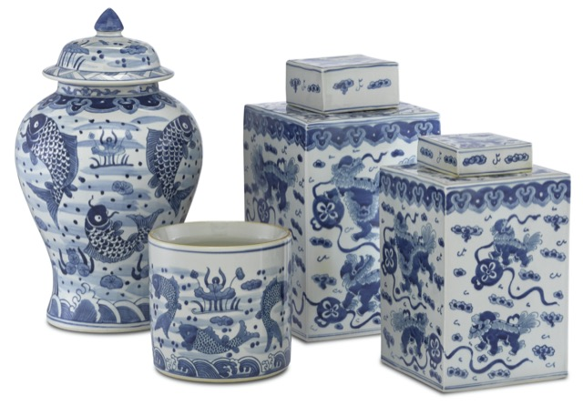 The Ming family of vases, new from Currey & Company.