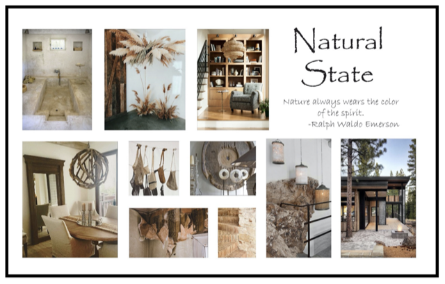 Natural State Collage representing a style story inspired by nature.