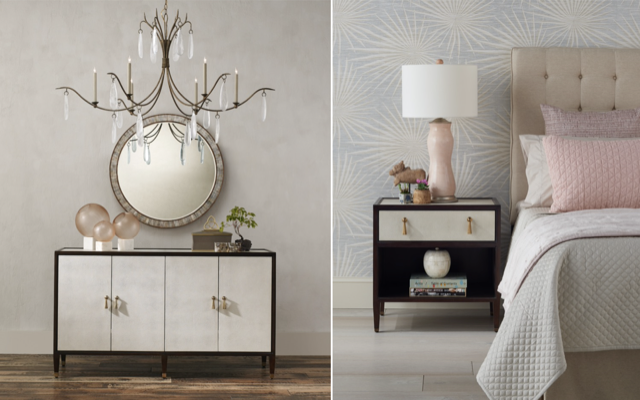 More of our Evie Shagreen family of products that includes the credenza and the nightstand.