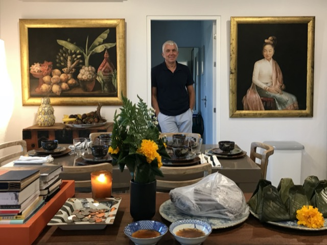 Jean-Charles Chappuis, who assists Brownlee Currey in identifying where to buy finely handcrafted pieces in Asia, at home.