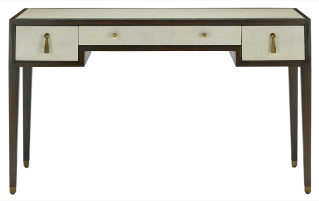 Evie Shagreen Desk by Currey & Company fits well in the 20s Contemporary trend
