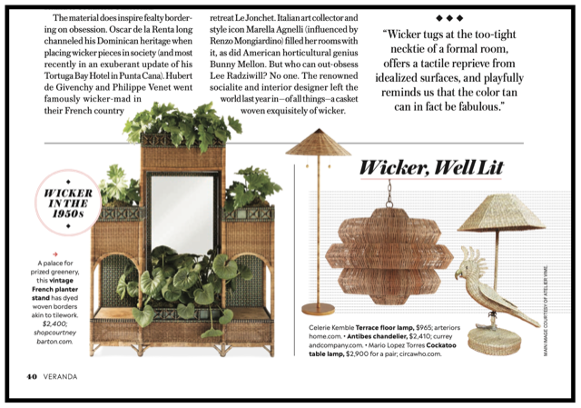 The editors of Veranda note how wicker is on trend, highlighting our Antibes Chandelier. As seen in Veranda Magazine, May/June 2020. Produced by Dayle Wood (@daylewood24).
