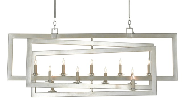 The Currey & Company Middleton Rectangular Silver Chandelier is a Teresa Davis favorite.
