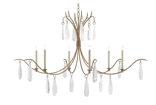 One of the primary materials in the Currey & Company Marshallia Chandelier are crystals