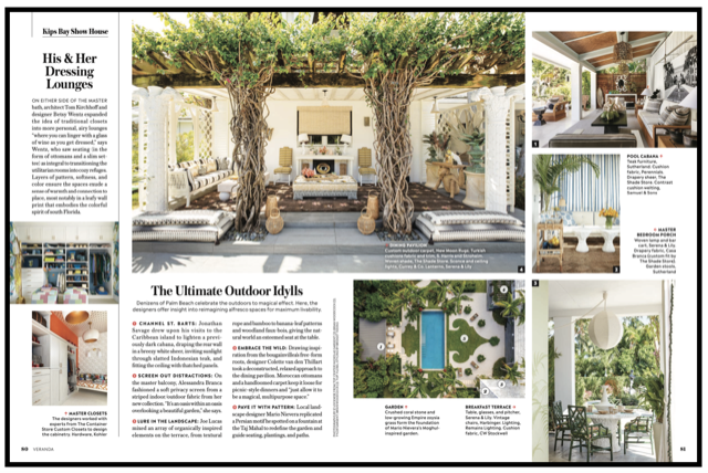 Colette van den Thillart's ourdoor dining space at the Kips Bay Palm Beach Decorator Show House as seen in Veranda Magazine, May/June 2020.Produced by Rachael Burrow (@rachaelburrow).