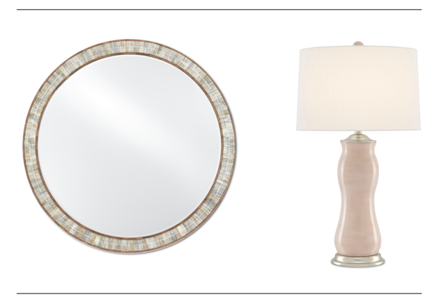 Currey & Company's Hyson Round Mirror and Ondine Table Lamp.