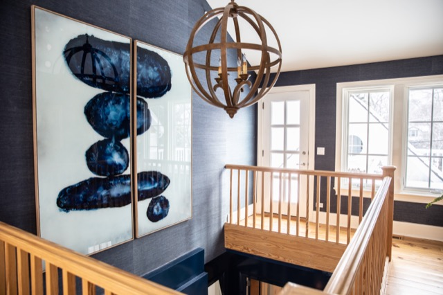 Our Axel Large Orb Chandelier in one of Leggy Bird Designs' projects.