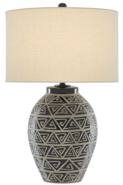 The Himba Table Lamp by Currey & Company, illuminated artistry.