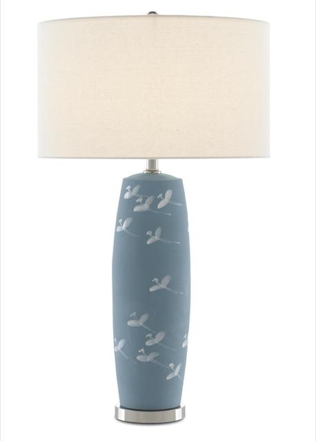 Currey & Company's Sylph Table Lamp illuminated.