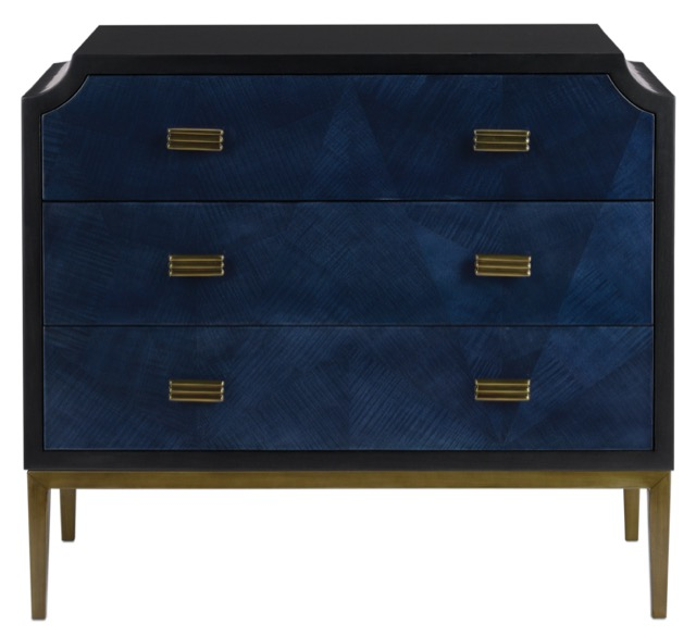 The blue Kallista chest by Currey & Company.