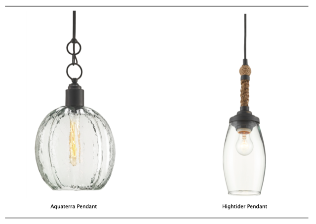 Aquaterra Pendant and Hightider Pendant by Currey & Company