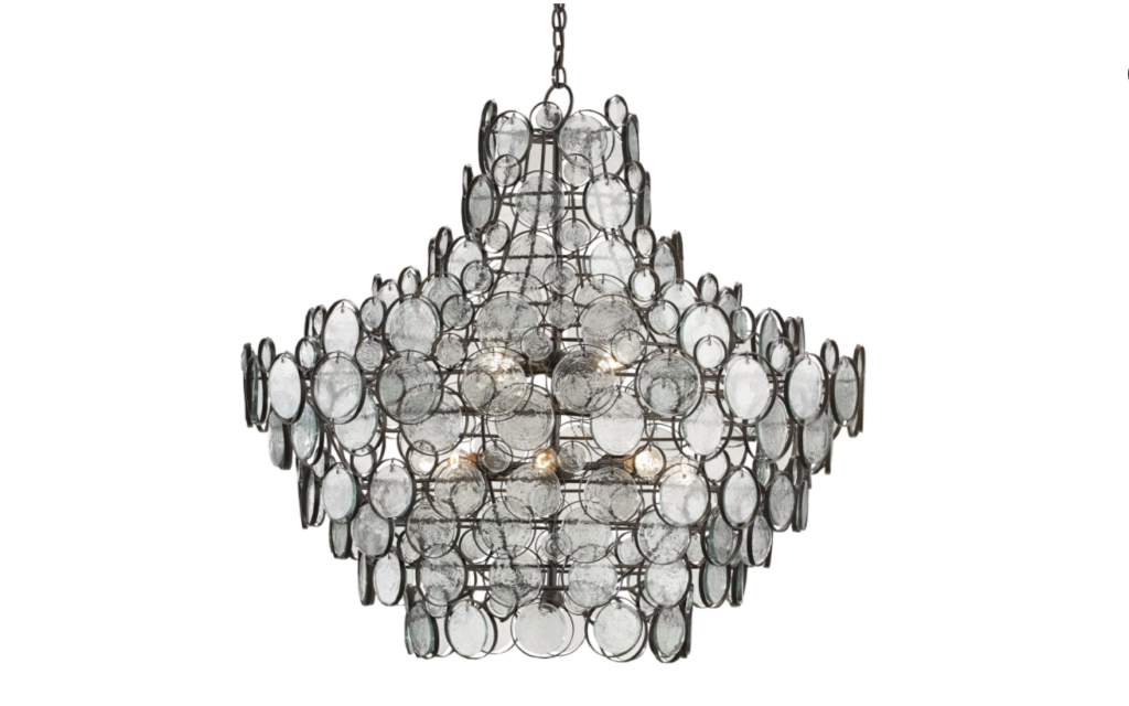 The Galahad Chandelier by Currey & Company with recycled glass that's sustainable