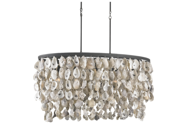 Stillwater Oval Chandelier by Currey & Company, oyster shells are sustainable