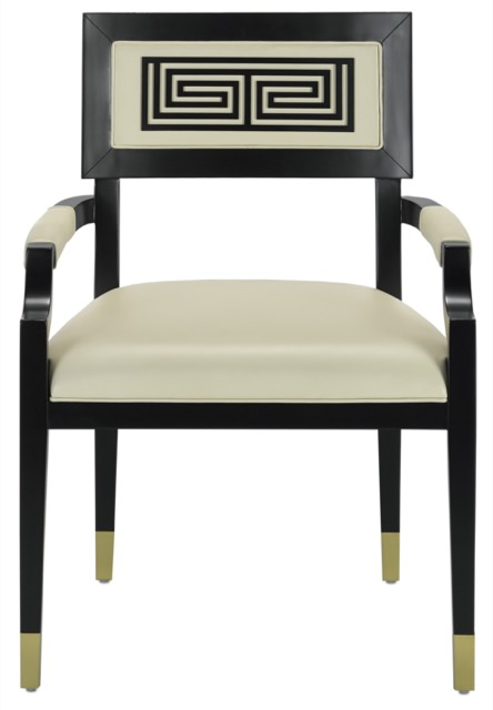 Artemis Chair with one Greek Key enlivening its seat back. Designed by Barry Goralnick for Currey & Company