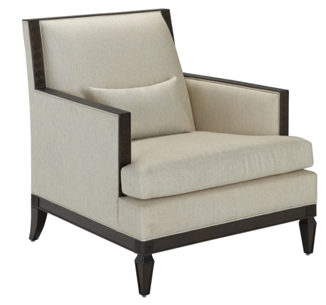 Zoe Club Chair with subtle Greek Key detailing along its frame. Designed by Barry Goralnick for Currey & Company