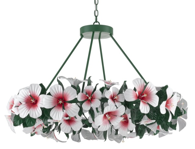 The Hibiscus Chandelier, designed by Sasha Bikoff for Currey & Company.