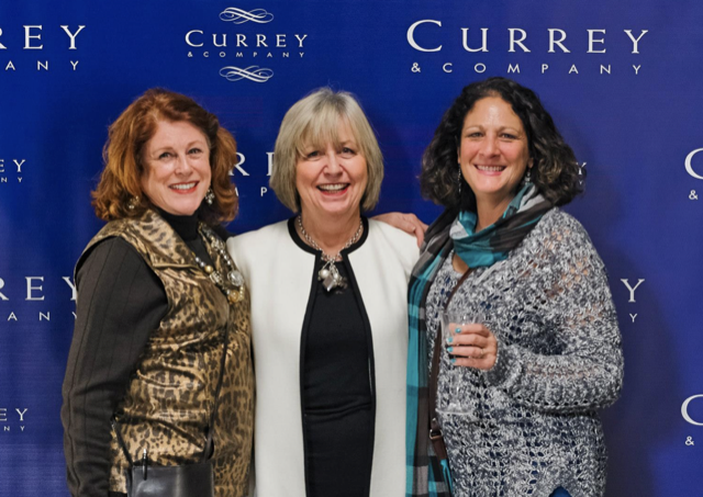 Margarethe Martin, Charleston-based sales rep for Currey & Company, with Mary Kahn Miller and Annie Newell.