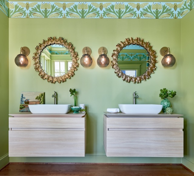 Courtney McLeod utilized our Figuier mirrors and Sozanni wall sconces in this master bath because they fit perfectly with her nature-inspired, updated take on early 20th century American Craftsman design.